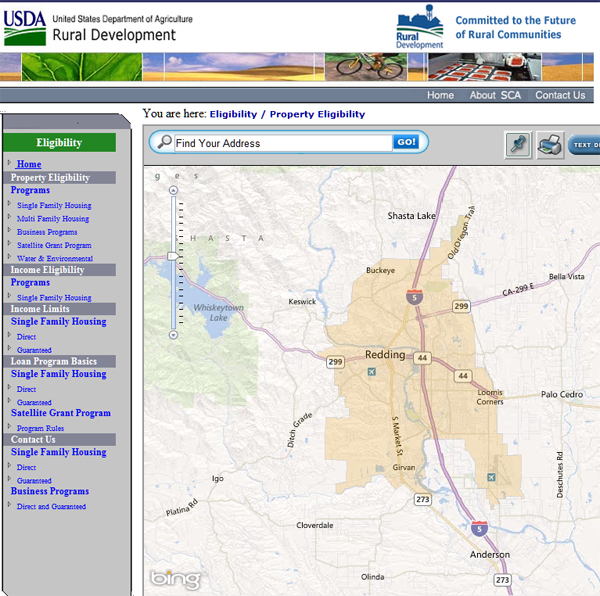 USDA loan map for Redding CA
