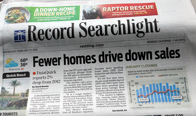 Record searchlight says fewer homes for sale